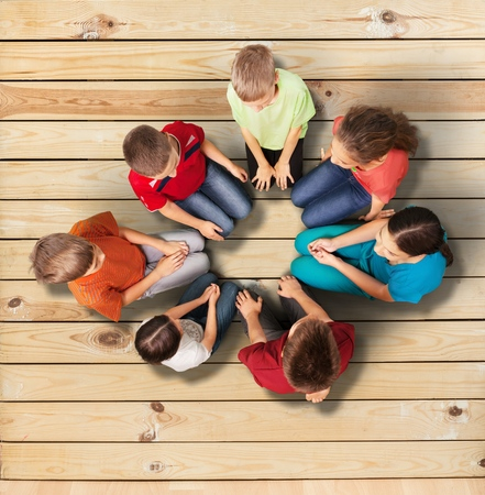 multi age: Child, Group Of People, Human Hand. Stock Photo