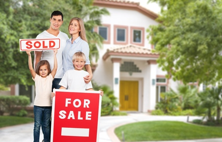 sold sign: House, Family, Residential Structure. Stock Photo
