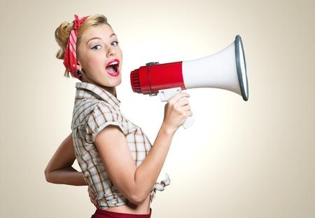 Megaphone, Women, Shouting. 写真素材
