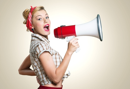 Megaphone, Women, Shouting. Stockfoto
