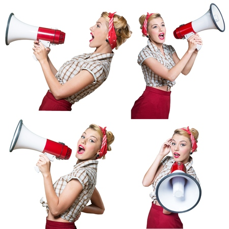 woman shouting: Megaphone, Women, Shouting. Stock Photo