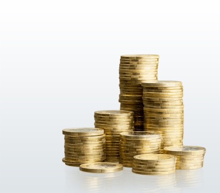 golden coins: Coin, stack, fund. Stock Photo