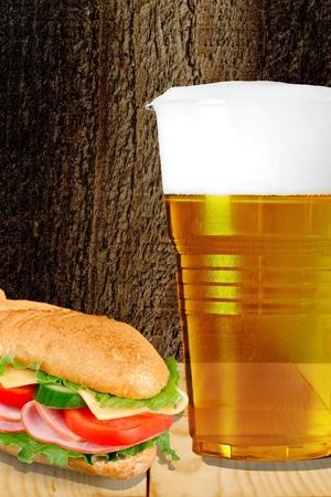 foam safe: Beer, cup, plastic. Stock Photo