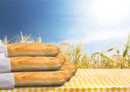 crusty french bread: Baguette, Bread, Loaf of Bread.