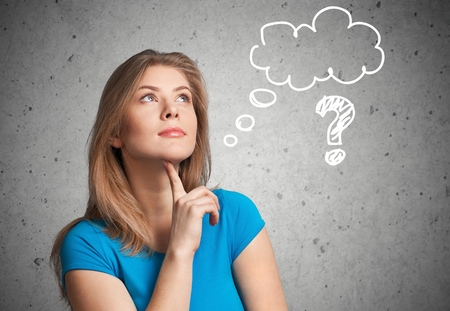 asking: Question, answer, asking. Stock Photo