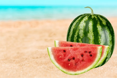 a portion: Watermelon, Fruit, Portion. Stock Photo