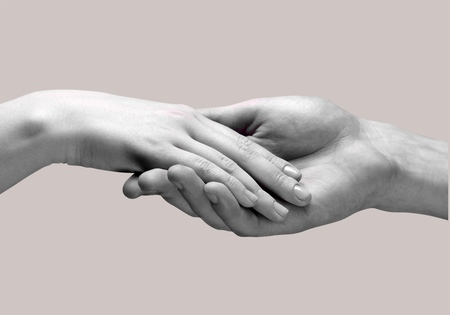 social grace: Holding Hands, Human Hand, Assistance. Stock Photo