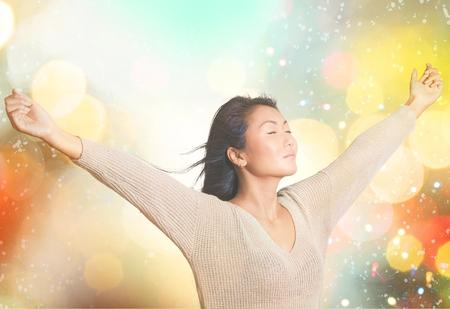 alegria: Mujeres, Estilo de vida saludable, Felicidad. Foto de archivo