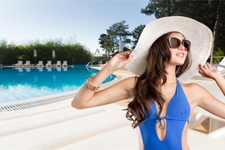 glasses model: Swimsuit, fashion, tan. Stock Photo