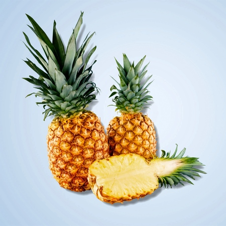 bisected: Pineapple Fruit, Isolated.