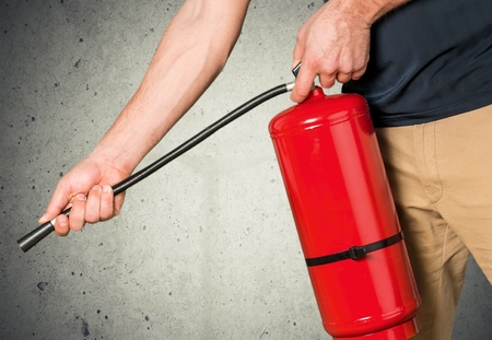 fire safety: Fire Extinguisher, Safety, Training. Stock Photo
