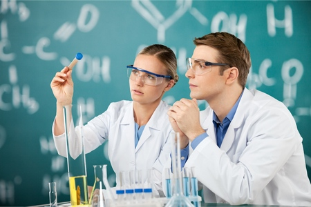 scientist woman: Laboratory, Scientist, Research. Stock Photo