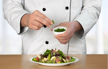 chefs whites: Chef, Cooking, Restaurant. Stock Photo