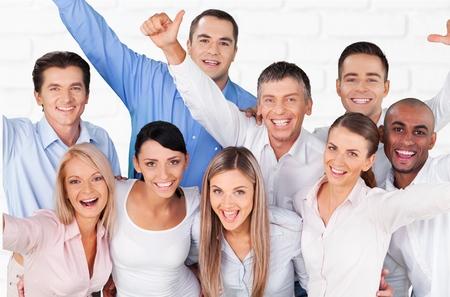 사람들, 행복, 쾌활 한 그룹입니다.