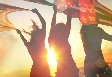 girl party: Beach, Party, Summer. Stock Photo