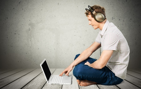 webmail: Music, Men, Laptop. Stock Photo