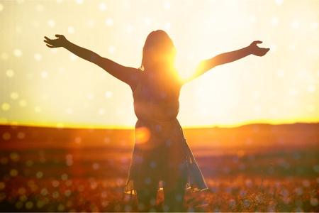 Joy, sunlight, wheat. 写真素材