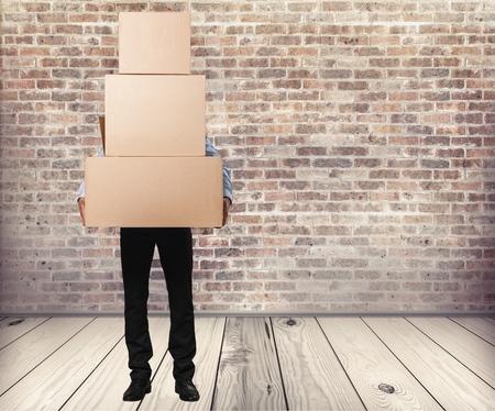 loading bay: Box, worker, people.