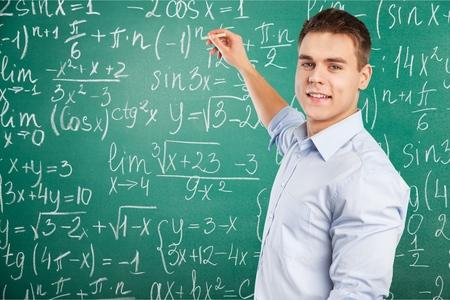 difficult task: Teacher, young, man. Stock Photo