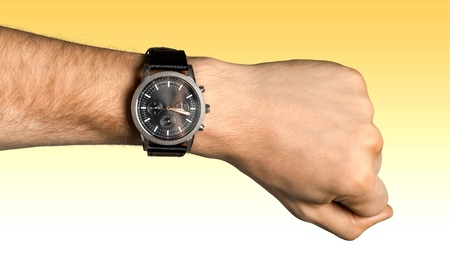 Watch, Wristwatch, Human Hand. Stock Photo