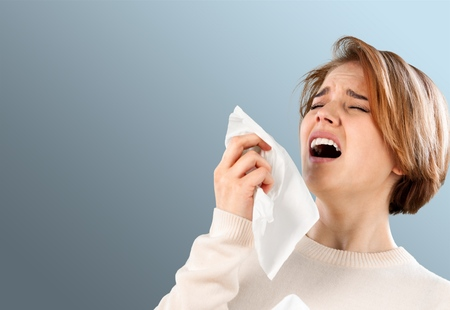 allergic: Sneezing, Allergy, Cold And Flu. Stock Photo