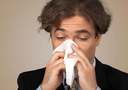sniffle: Sneezing, Cold And Flu, Flu Virus. Stock Photo