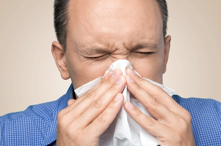cold: Sneezing, Cold And Flu, Flu Virus. Stock Photo