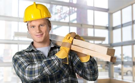 yourself: Worker, wood, yourself. Stock Photo