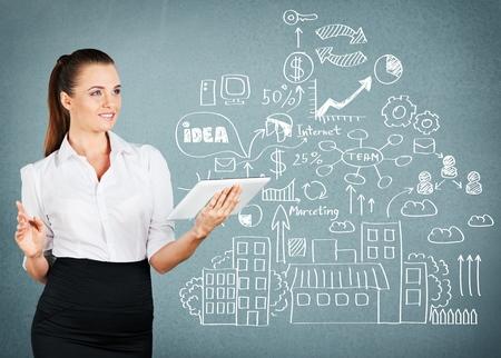 business attire teacher: Teacher, drawings, tablet.