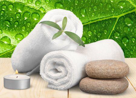 green tea leaf: Spa Treatment, Towel, Candle. Stock Photo