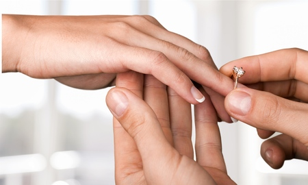 marriage proposal: Ring, african, american. Stock Photo
