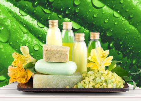 body grooming: Bar Of Soap, Spa Treatment, Cosmetics. Stock Photo