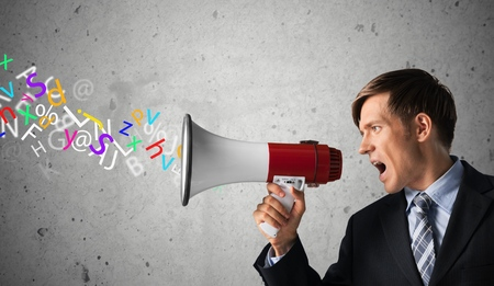 businessman using a megaphone: Megaphone, Listening, Bullhorn.