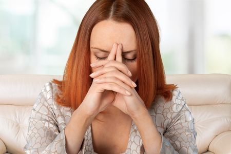 negativity: Women, Emotional Stress, Depression. Stock Photo