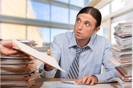 office physical pressure paper: Emotional Stress, Paperwork, Business. Stock Photo