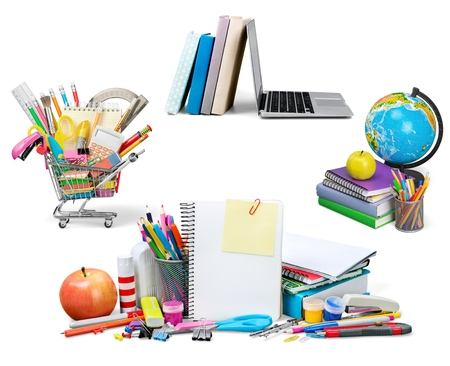 back to school supplies: Education, Back to School, Shopping. Stock Photo