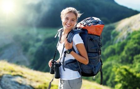 mochila viaje: Viaje, viajero, mochila. Foto de archivo