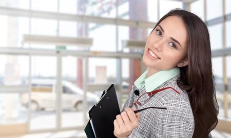 file clerk: Student, Business, Women. Stock Photo