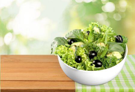 diet dinner: Salad, Avocado, Lettuce. Stock Photo
