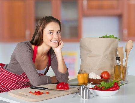 국내의: 요리, 국내 부엌, 여성.