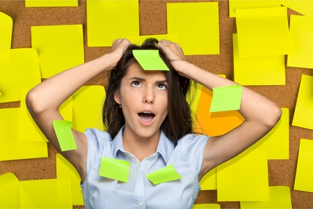 adhesive  note: Emotional Stress, Women, Adhesive Note. Stock Photo