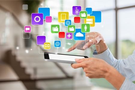 응용 프로그램, 아이콘, 미디어. 스톡 콘텐츠
