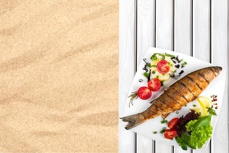 prepared: Fish, Grilled, Prepared Fish. Stock Photo