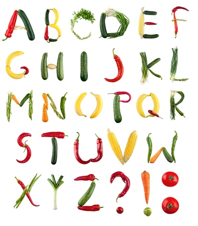 Alphabet, Vegetable, Food.