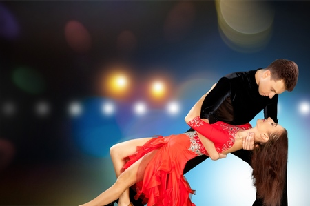 salsa dancing: Salsa Dancing, Dancing, Ballroom. Stock Photo