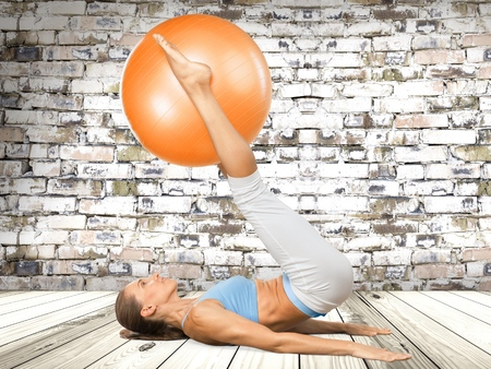 Pilates, Fitness Ball, Yoga. Stock Photo
