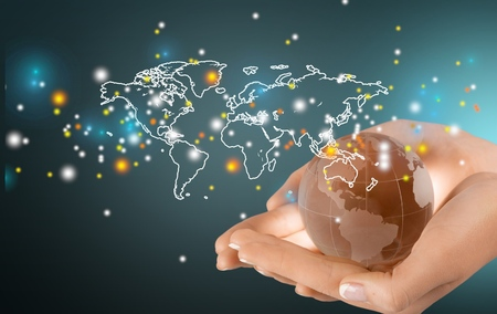 Globe, Human Hand, World Map.