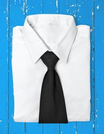 necktie: Necktie, Shirt, White. Stock Photo