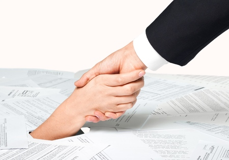 finance a helping hand confusion: Debt, Finance, Bill. Stock Photo
