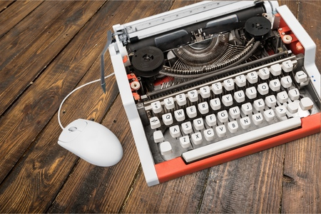 old new: Old, New, Typewriter. Stock Photo